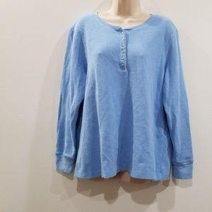 Laura Scott classic fit woman blue ribbed blouse